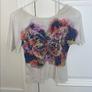 colorful/white butterfly short sleeve shirt